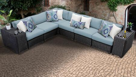 Venice Collection VENICE-08a-SPA 8-Piece Patio Set 08a with 1 Corner Chair   5 Armless Chair   2 Cup Table - Wheat and Spa