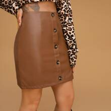Button Front PU Leather Straight Skirt