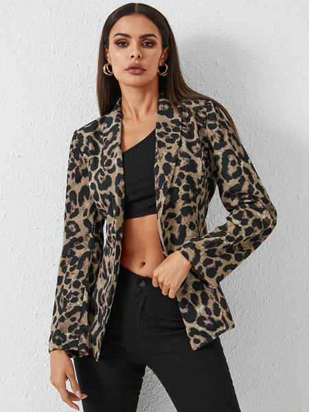 YOINS Leopard Lace-up Design Belted Lapel Collar Blazer