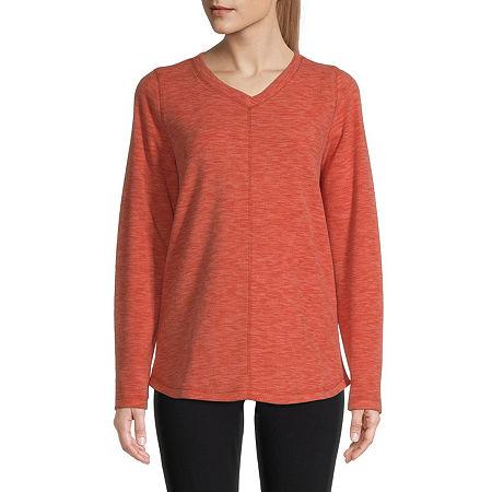 St. John's Bay-Womens V Neck Long Sleeve Polar Fleece Pullover, Xx-large , Orange