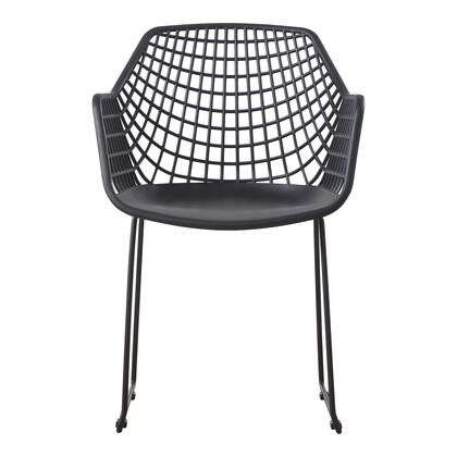 Honolulu Collection QX-1007-02 Chair with Powder-Coated Steel Legs in Black