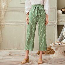 Polka Dot Paperbag Waist Belted Pants