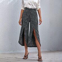 High Waist Slit Hem Tweed Pants