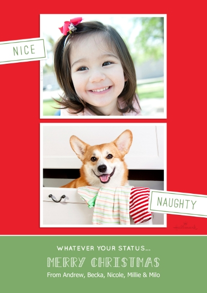 Christmas Photo Cards 5x7 Cards, Premium Cardstock 120lb with Scalloped Corners, Card & Stationery -Nice and Naughty Christmas