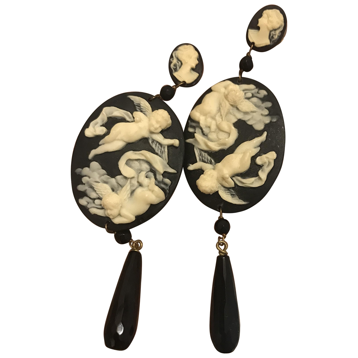 Non Signé / Unsigned Médailles Black Metal Earrings for Women \N