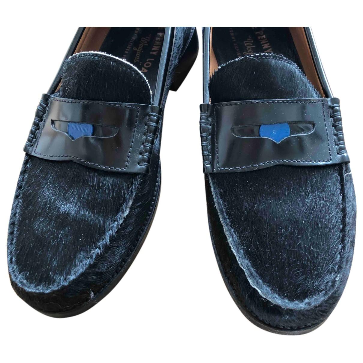Tommy Hilfiger N Black Leather Flats for Men 43 EU