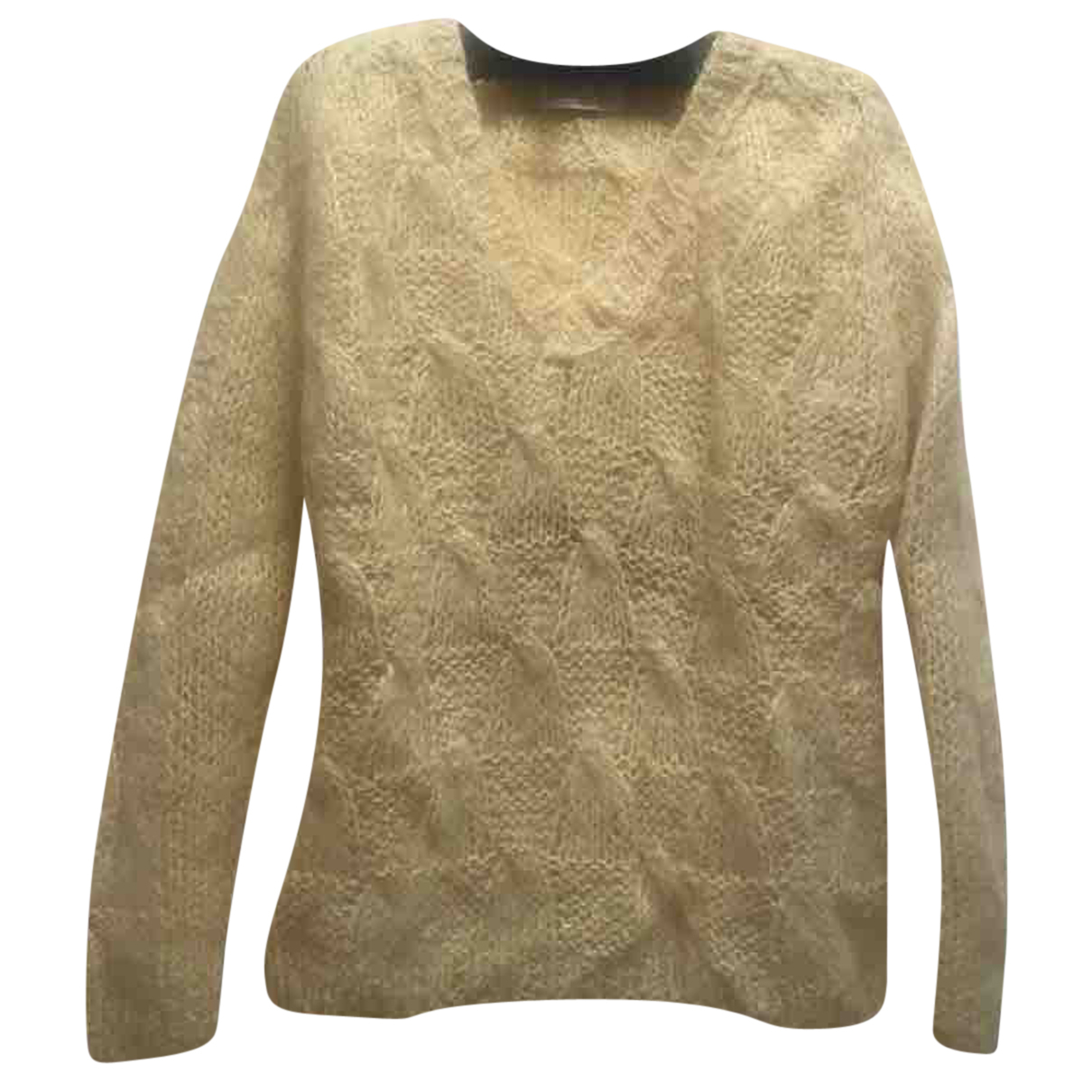 - Pull Manche ballon pour femme en laine - jaune
