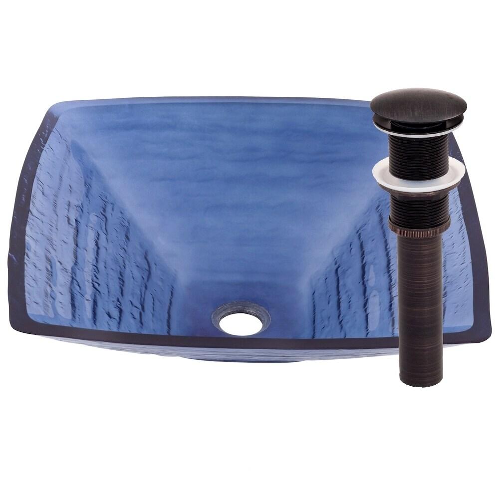 Novatto Fresco Glass Vessel Bathroom Sink Set, Oil Rubbed Bronze (Blue)
