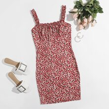 Ditsy Floral Ruched Bust Frill Trim Bodycon Dress