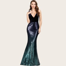 Plunging Neck Velvet Bodice Sequin Fishtail Prom Dress