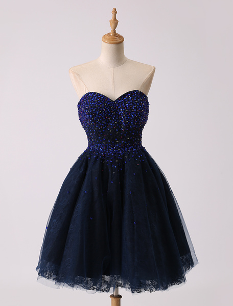 Milanoo Short Mini Dark Navy Sweetheart Prom Dress With Beading Bodice