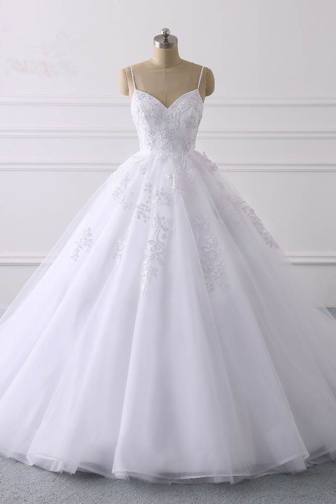 BMbridal Glamorous Spaghetti Straps V-Neck Tulle Wedding Dress Ball Gown Ruffles Appliques Bridal Gowns Online