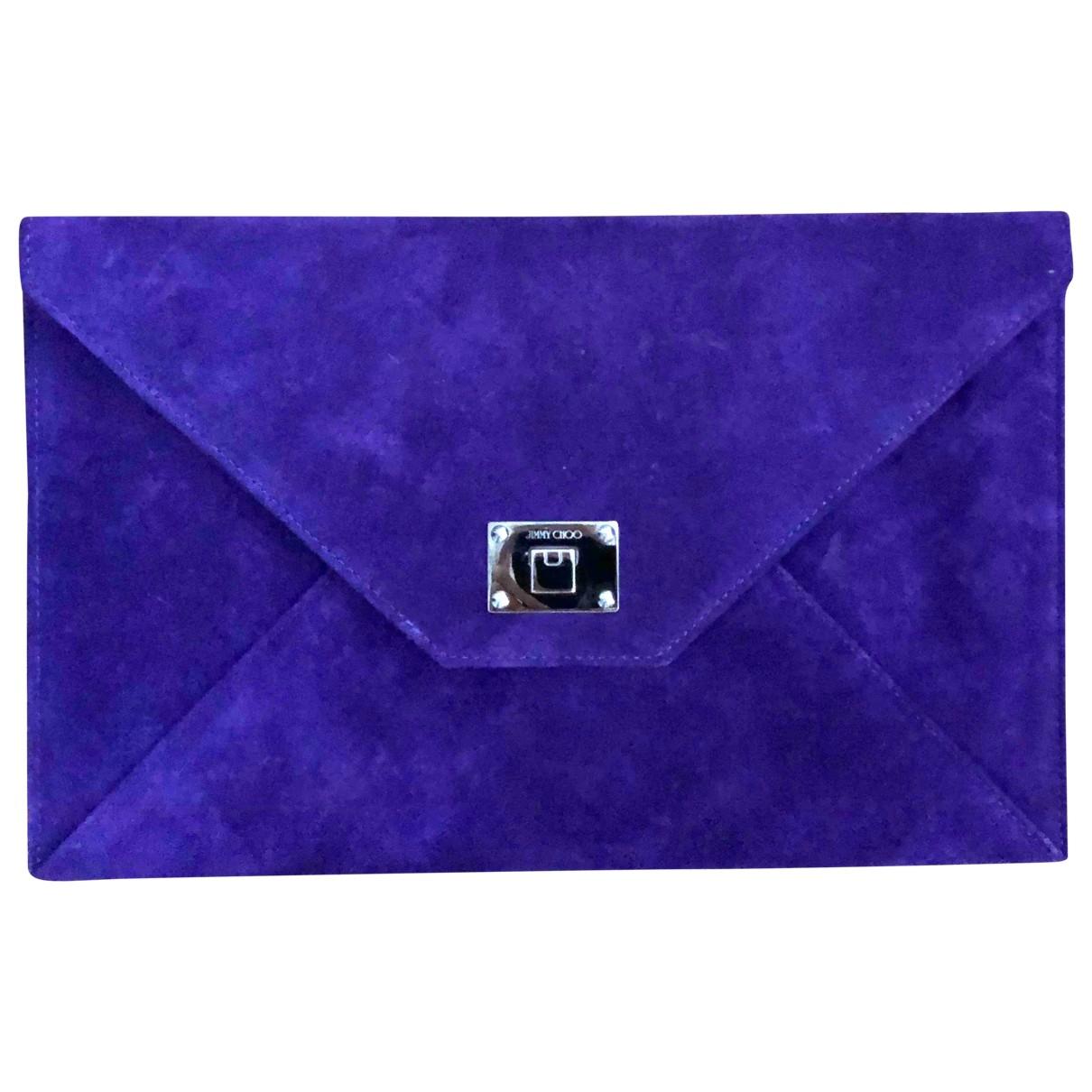 Jimmy Choo - Pochette   pour femme en suede - violet