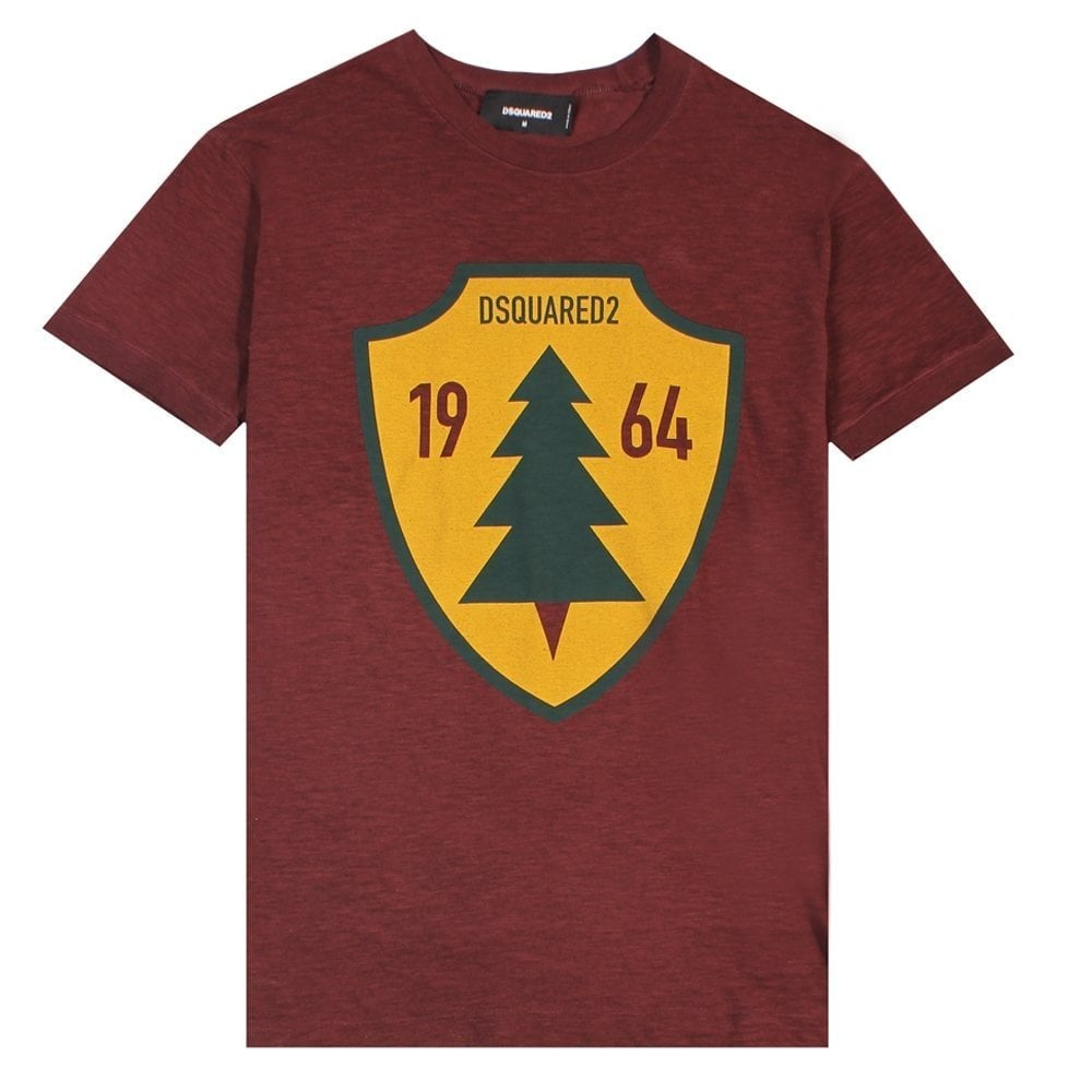 Dsquared2 '1964' T-Shirt Burgundy Colour: MAROON, Size: EXTRA EXTRA LARGE