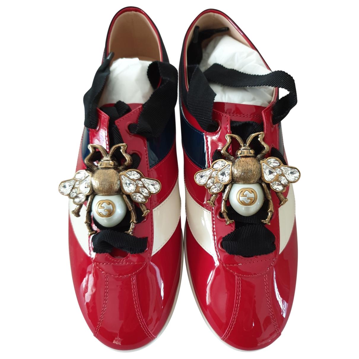 Gucci - Baskets   pour femme en cuir verni - rouge