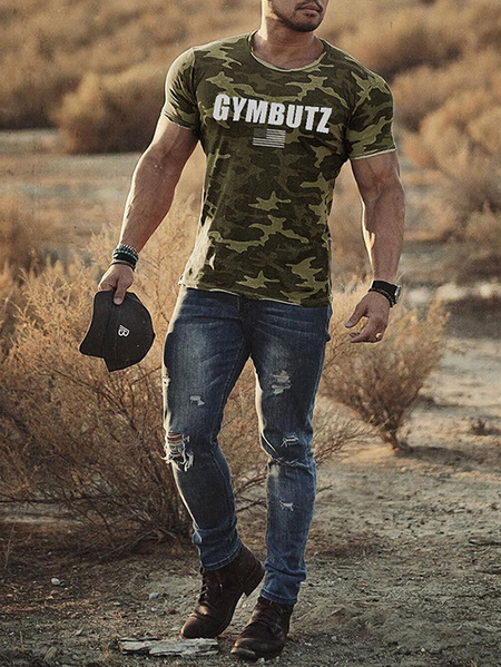 Yoins Men Summer Camouflage Print Fitness Sport Gym T-shirt