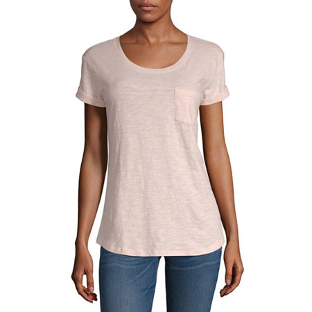 a.n.a-Womens Round Neck Short Sleeve T-Shirt, Small , Pink