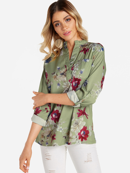 Yoins Green Button Design Random Floral Print Side Poacket 3/4 Length Sleeves Shirt