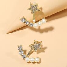 Rhinestone Star Decor Stud Earrings