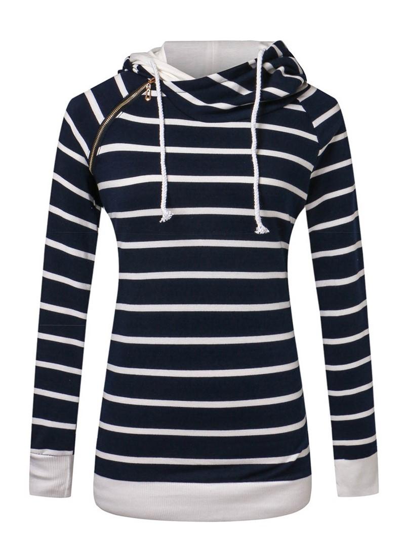 Ericdress Stripe Zipper Mid-Length Sweatshirt