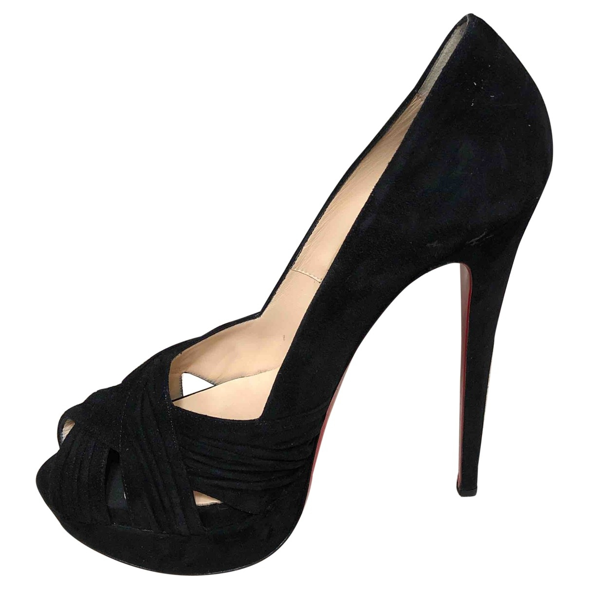 Christian Louboutin Lady Peep Black Suede Heels for Women 39.5 EU