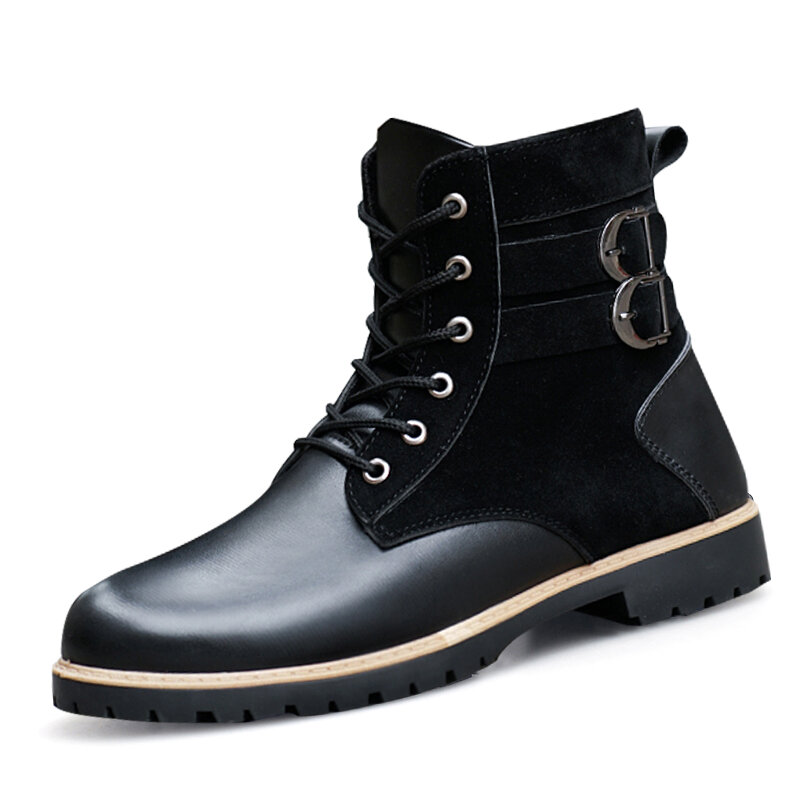 Men Microfiber Leather Splicing Warm Work Style High Top Motorcycle Boots
