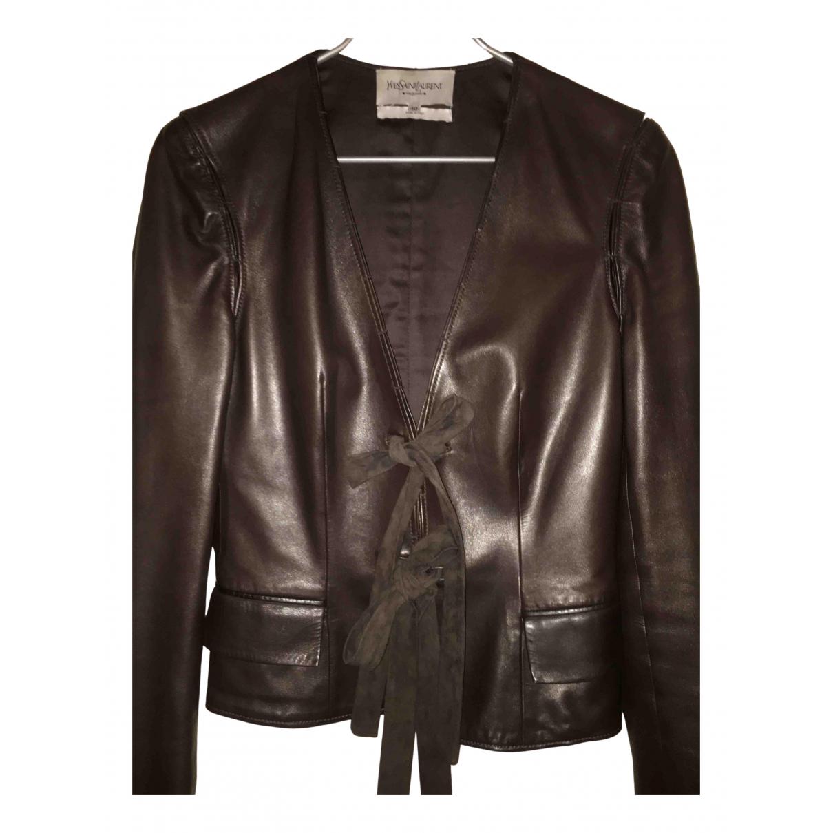 Yves Saint Laurent - Veste   pour femme en cuir - marron