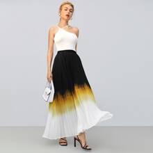 Falda maxi con fruncido de ombre