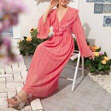 Wassermelonenrosa Rueschen Einfarbig Romantisch Kleider