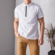 Hemd mit Stehkragen, Kontrast, Band und halber Knopfleiste