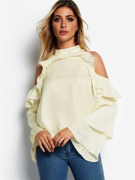 Yoins White Flounced Design Cold Shoulder Long Sleeves Blouse