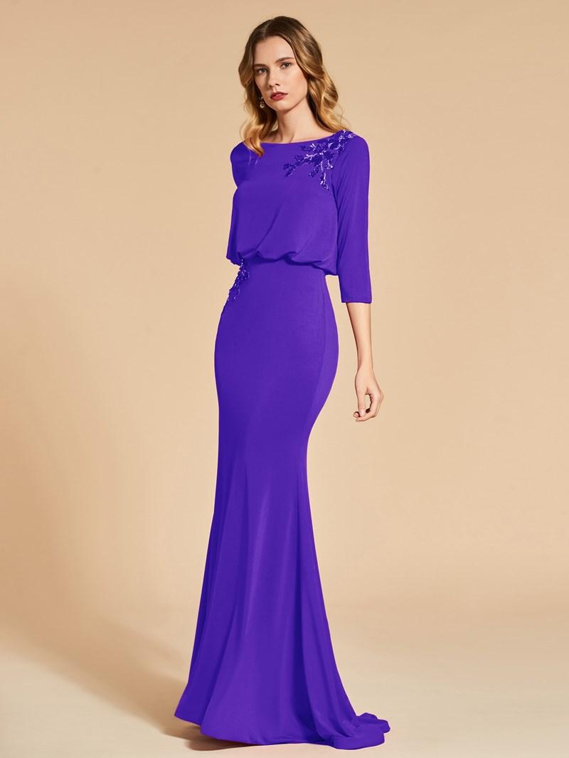 Ericdress 3/4 Sleeve Sequin Applique Mermaid Evening Dress