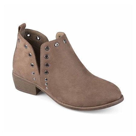 Journee Collection Womens Firth Booties Block Heel, 6 1/2 Medium, Brown