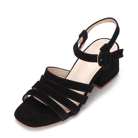 Yoins Black Suede Look Straps Across Block Heel Sandal