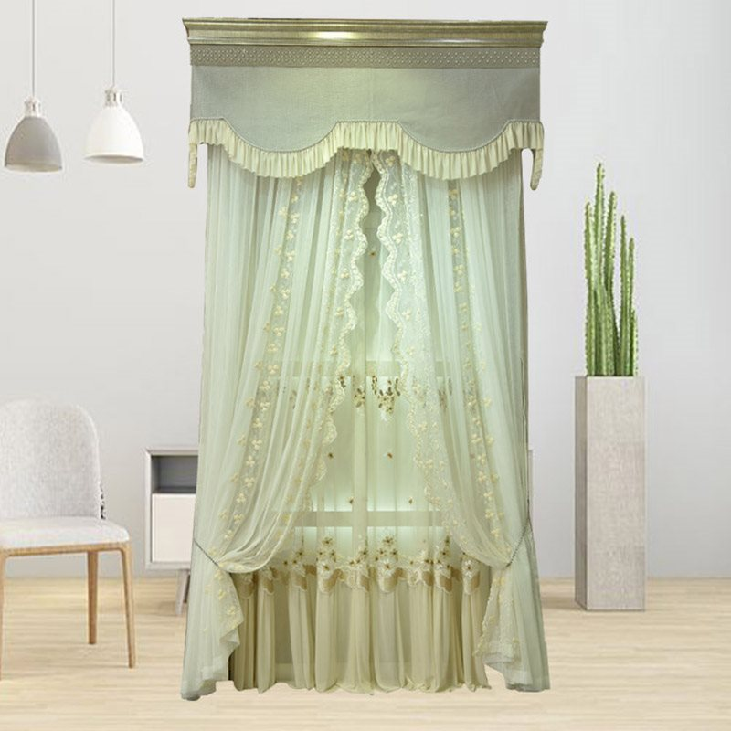 French Neoclassical Superior Custom Designed Stereo Applique Embroidered Double Sheer Sets