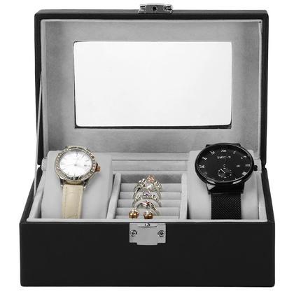 3 rangée noire en cuir PU montre bijoux de rangement style vintage - SortWise ™