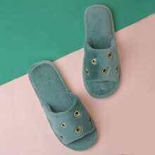 Avocado Embroidery Fluffy Slippers