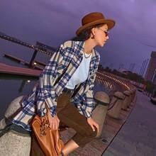 Shirt mit Karo Muster, Taschen Klappen und Knopfen vorn