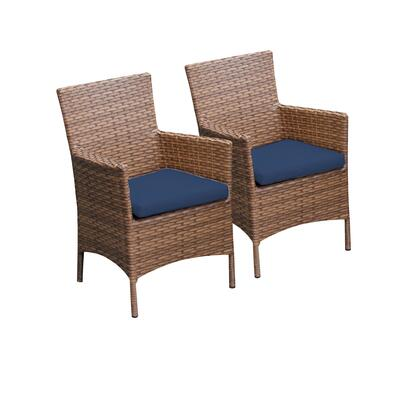 TKC093b-DC-NAVY 2 Laguna Dining Chairs With Arms with 2 Covers: Wheat and