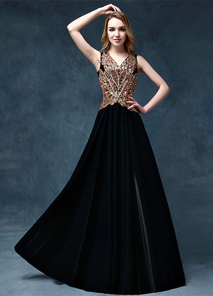 Milanoo Black Evening Dress Beading Applique Mother Of The Bride Dress V Neck Sleeveless A Line Floor Length Wedding Guest Dresses wedding guest dress