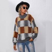 Drop Shoulder Colorblock Loop Knit Sweater
