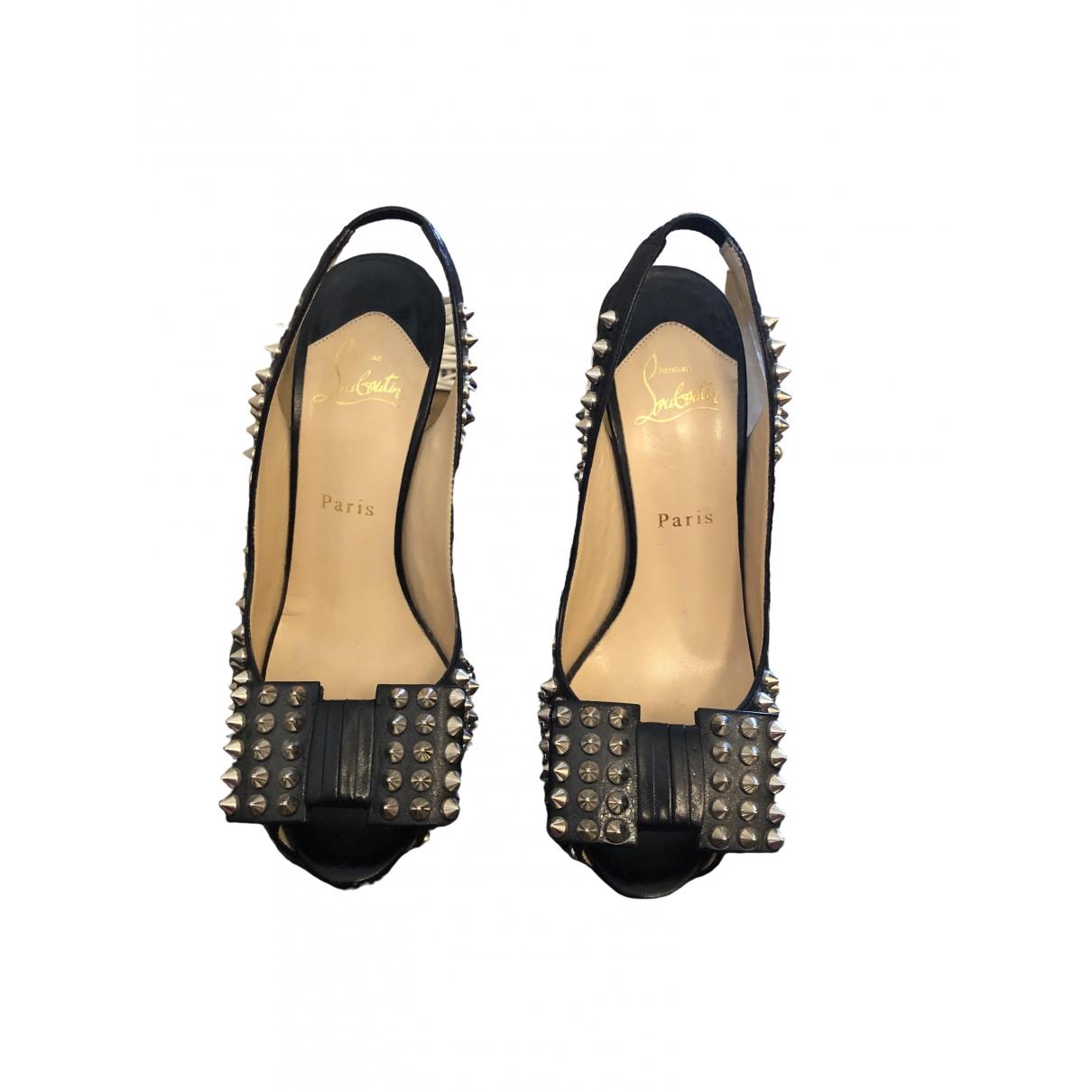 Christian Louboutin - Escarpins Nosy Spikes pour femme en cuir - noir