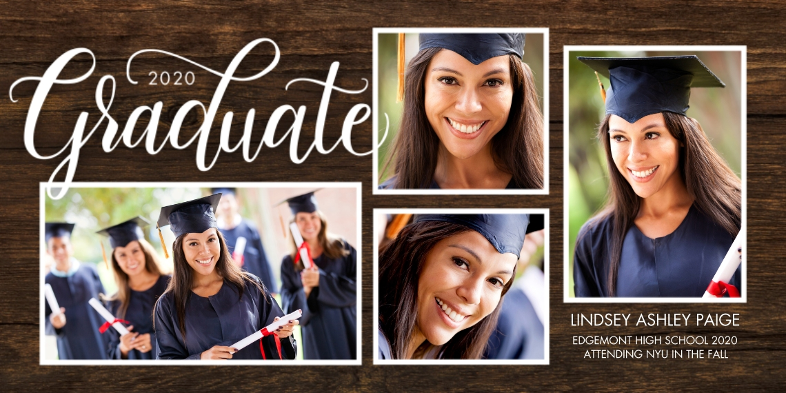 2020 Graduation Announcements Flat Matte Photo Paper Cards with Envelopes, 4x8, Card & Stationery -2020 Graduate Script by Tumbalina