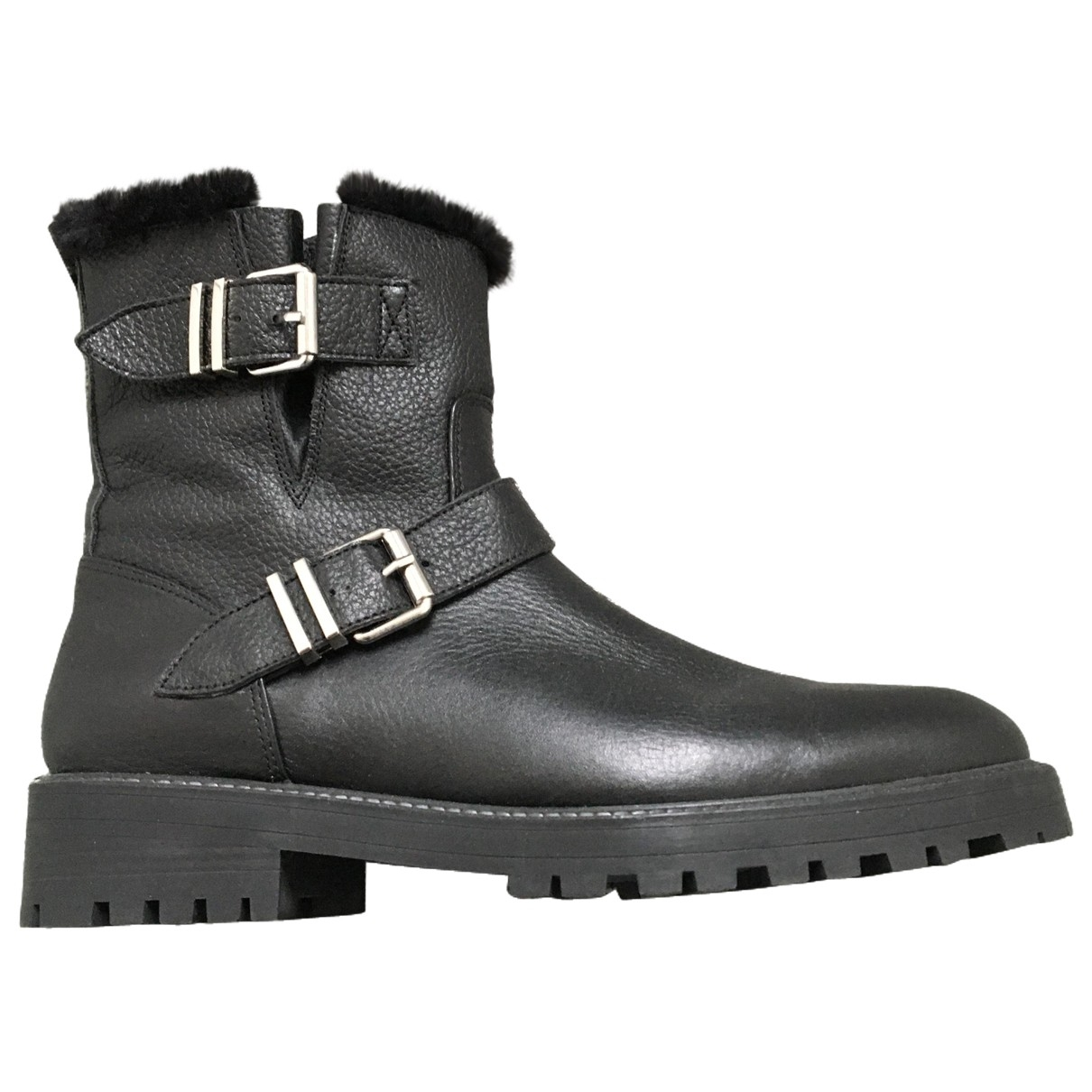 Zara \N Black Leather Ankle boots for Women 41 EU