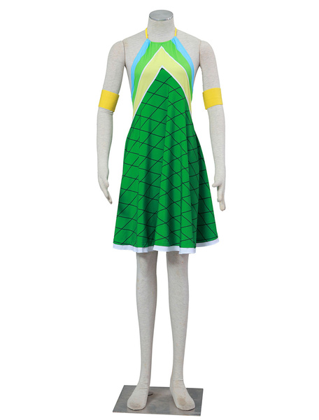 Milanoo Fairy Tail Wendy Marvell Halloween Cosplay Costume Green Dragon Scales Version Halloween