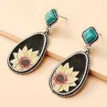 Flower Pattern Water Drop Earrings