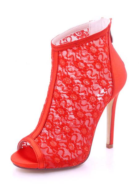 Milanoo Zapatos de novia de saten 11.5cm Zapatos de Fiesta Zapatos blanco  de tacon de stiletto Zapatos de boda de punter Peep Toe con cremallera 1cm