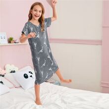 Girls Dolphin And Galaxy Print Night Dress