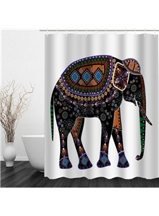 3D Elephant Bohemian Style Polyester Waterproof Antibacterial and Eco-friendly Shower Curtain