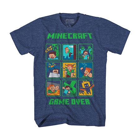 Little & Big Boys Crew Neck Minecraft Short Sleeve Graphic T-Shirt, Xx-small (4-5) , Blue